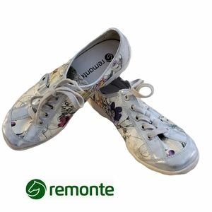 REMONTE by Riek floral & metallic lace up sneakers